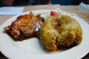 Spiced chicken and mofongo are a perfect combination and a traditional favorite among San Juan locals.