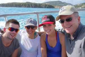 Sailing happily in St. Maarten with Andy, Jackie, and Rick.