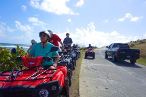Taking a break from the rumbly jumbly ATV tour of St. Maarten.