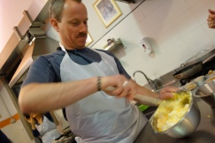Dave whisks together marscapone and eggs to make the creamy base of our tiramisu.