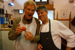 Fabrizio and Rick expertly peel tomatoes.