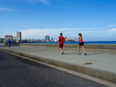 Fitness buffs find a perfect place to run along the Malecón.