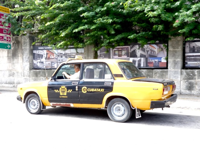 Save money by going in a Russian Lada taxi.