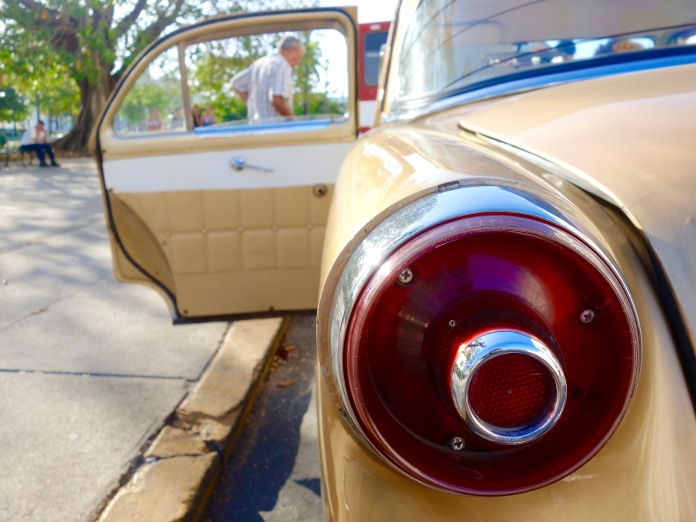 Detail: Tail light of a 1950s Ford.