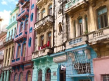 Easter egg-colored buildings in Havana.